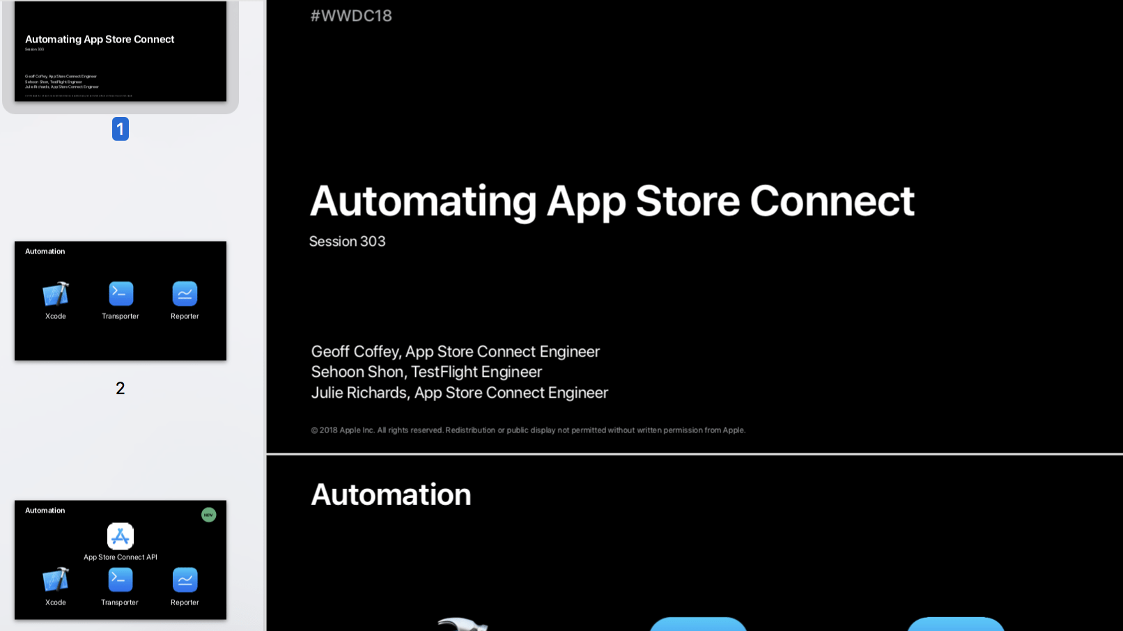 App Store Connect Automation Session 303 WWDC 18