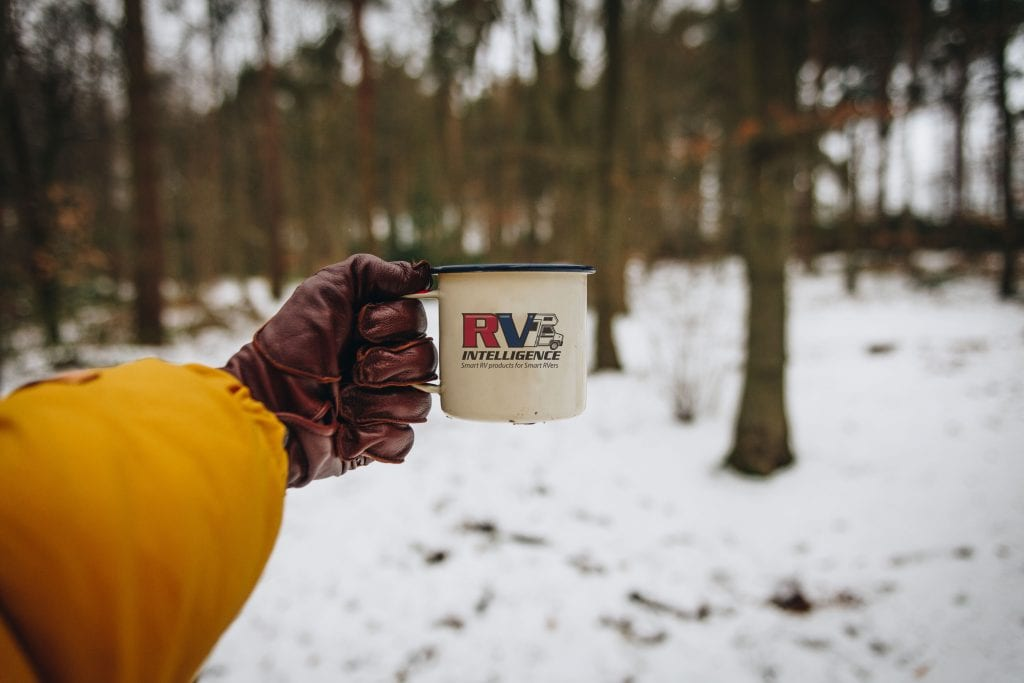 Contact RV Intelligence logo on coffee cup
